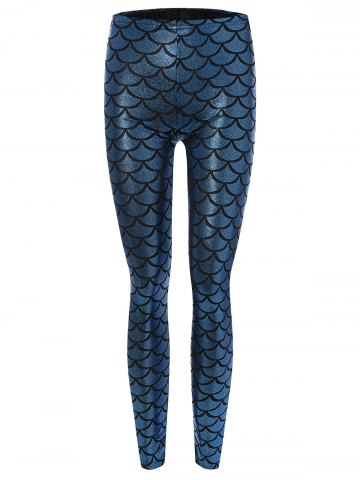 Skinny Mermaid Leggings - Light Blue - M