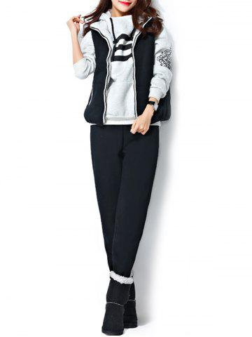 Fashion Varsity Striped Printed Three Piece Gym Suit