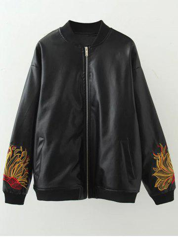 Plus Size Embroidered Faux Leather Bomber Jacket - Black - 2xl