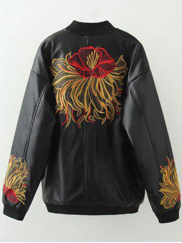 Buy Plus Size Embroidered Faux Leather Bomber Jacket - 2XL BLACK Mobile