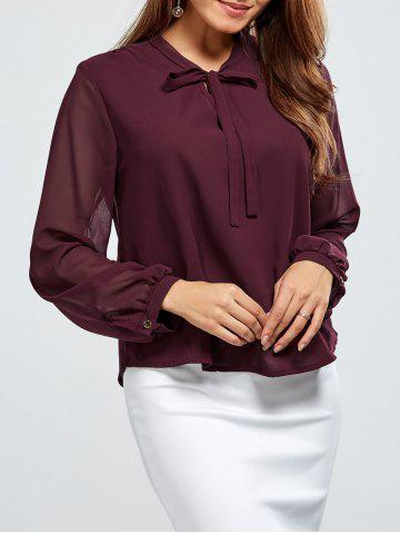 Affordable Chiffon Tie Neck Blouse WINE RED 2XL