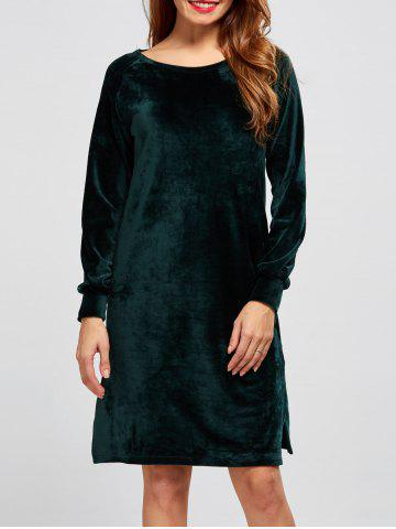 Hot Long Sleeve Casual Velvet Shift Shirt Dress BLACKISH GREEN XL