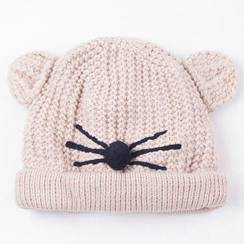 Warm Crocheting Animal Head Cat Face Hat - Off-white