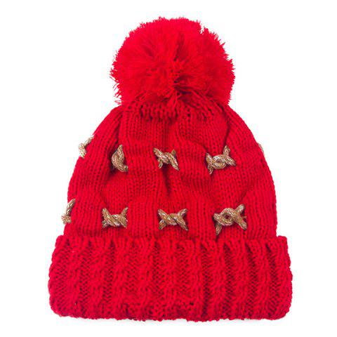 Unique Warm Knit Cable Braided Pom Hat RED