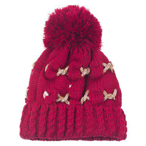 Warm Knit Cable Braided Pom Hat - Wine Red - 2xl