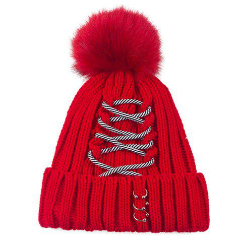 Criss Cross Bandage Pom Hat