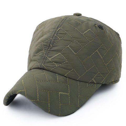 New Outdoor Rhombus Warm Ear Warmer Adjustable Baseball Cap - ARMY GREEN  Mobile