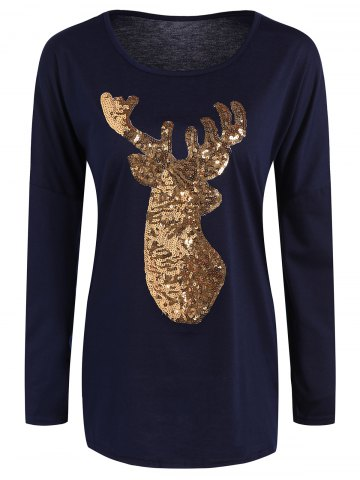 Hot Christmas Reindeer Sequin Long Sleeve T-Shirt