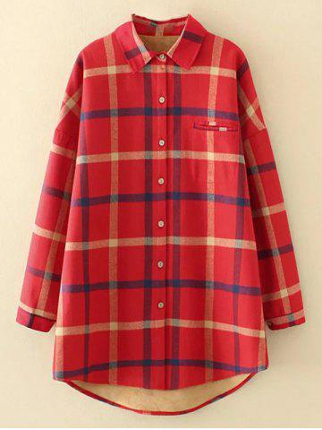 Outfits Plus Size Checkered Fleece Flannel Lined Shirt RED 4XL