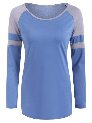 Sale Raglan Sleeve Color Block Design T-Shirt SKY BLUE L