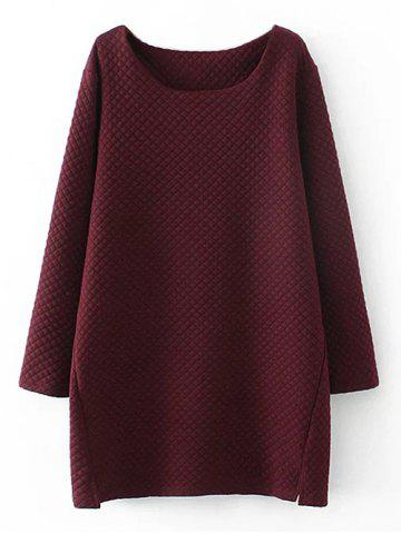 Shops Plus Size Checked Textured Long Sweatshirt WINE RED 3XL