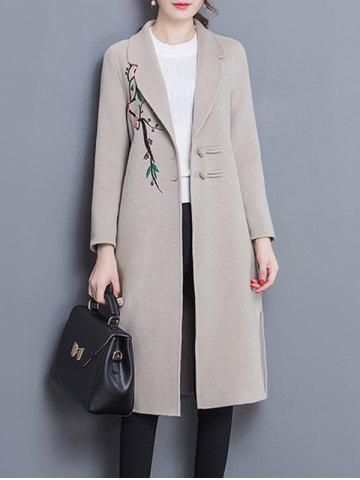 Latest Wool Blend Longline Embroidered Coat
