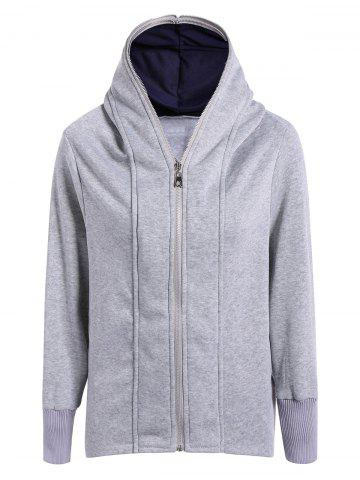 New Casual Double Zippers Plus Size Hoodie LIGHT GRAY 2XL