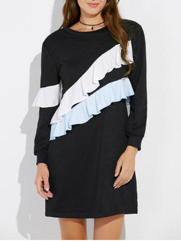 Layered Spliced Sweatshirt Dress - Black - 2xl