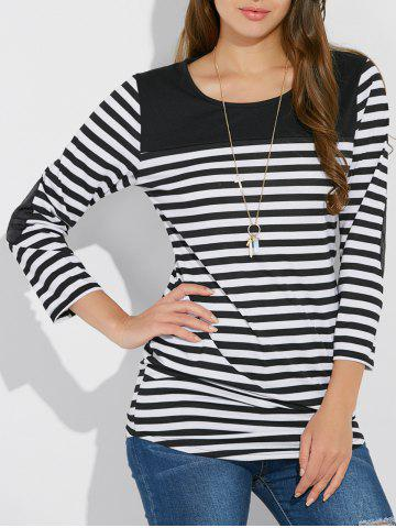Chic Stripe Asymmetric Elbow Sleeve Tee WHITE XL