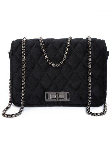 Shops Chains Velour Quilted Crossbody Bag BLACK