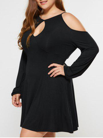 Plus Size Dew Shoulder Keyhole Neck Dress - Black - Xl