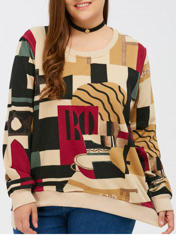 Affordable Plus Size Abstract Print Sweatshirt