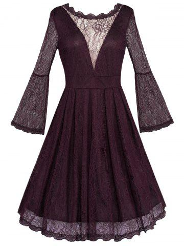 Cheap Open Back See Through Long Sleeve Flare Lace Dress