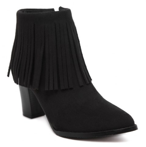 Affordable Chunky Heel Suede Fringe Ankle Boots BLACK 39
