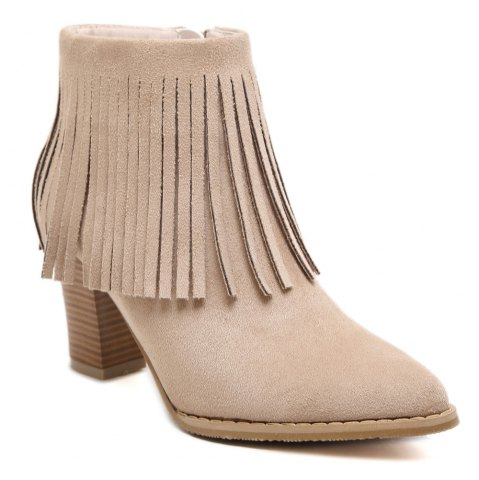 Shop Chunky Heel Suede Fringe Ankle Boots APRICOT 39