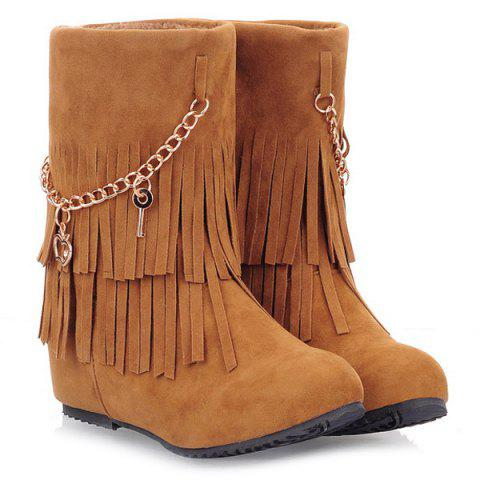 Discount Suede Fringe Mid-Calf Boots YELLOW 39