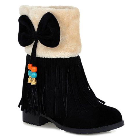 Unique Faux Fur Bow Tassels Fringe Ankle Boots BLACK 39