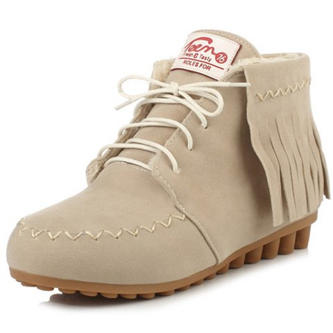 Fashion Lace Up Fringe Ankle Boots OFF WHITE 39