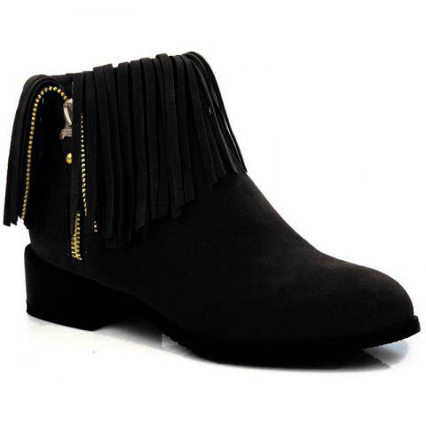 New Point Toe Fringe Ankle Boots