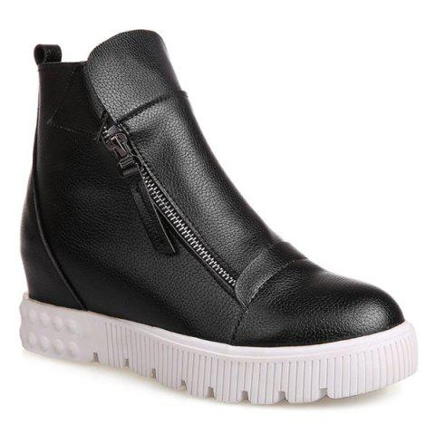 Best PU Leather Zip Ankle Boots