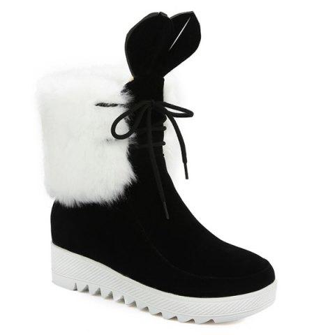 Outfit Rabbit Ear Lace Up Faux Fur Ankle Boots
