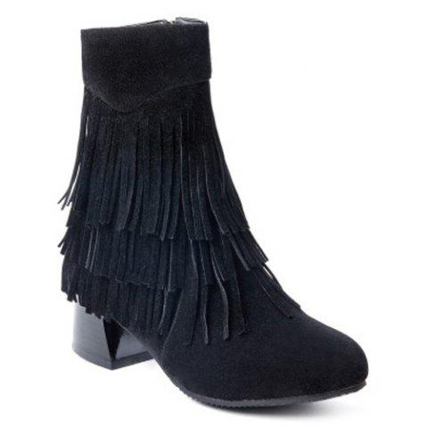 Fancy Side Zipper Fringe Ankle Boots