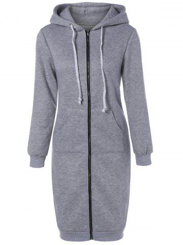 Outfit Winter Casual Zip Up Hoodie GRAY XL