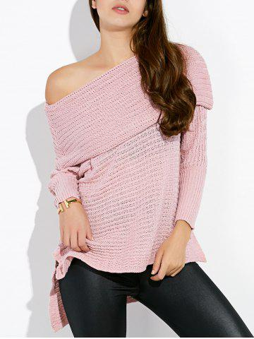 Discount Convertible Collar Asymmetric Sweater