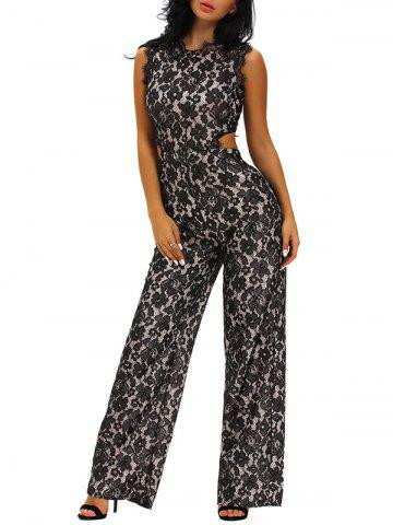 Cut Out Sleeveless Wide Leg Lace Jumpsuit - Black - S