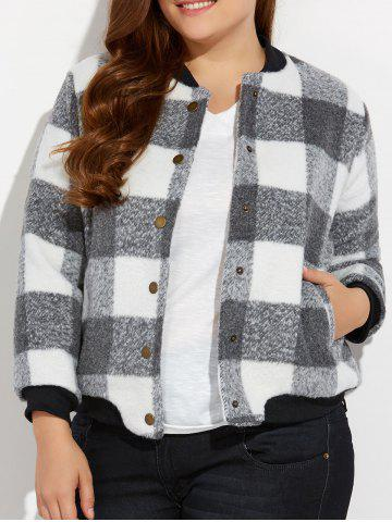 Cheap Snap Button Plus Size Plaid Woolen Jacket