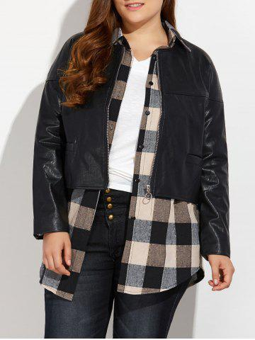 Zippé Plus Size Faux Leather Jacket Noir 3XL