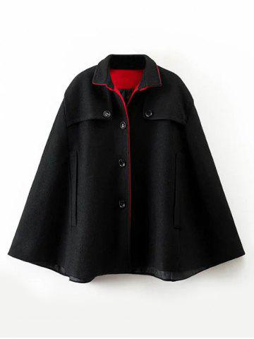 Buttoned Cashmere Cape Coat - Black - S