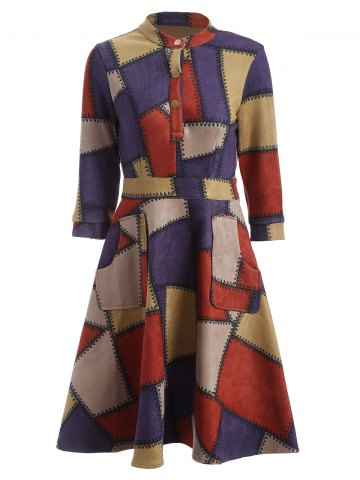 Outfits Checked Print Fit and Flare Work Dress RED XL