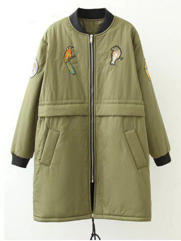 Sale Plus Size Bird Letter Patched Bomber Coat ARMY GREEN 3XL