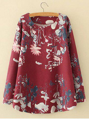 Online Plus Size Lotus Painting Chinese Button Linen Blouse DEEP RED 3XL
