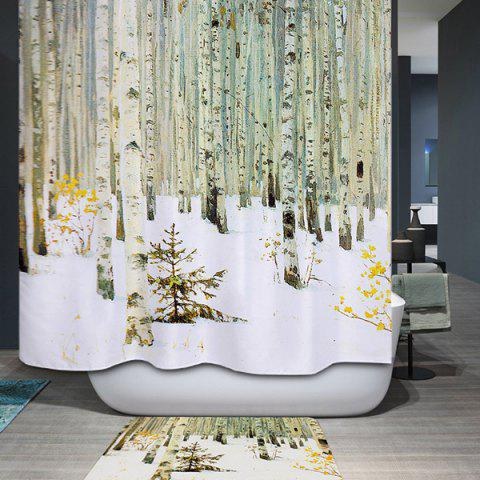 Waterproof Mildewproof Winter Forest Design Shower Curtain - COLORMIX