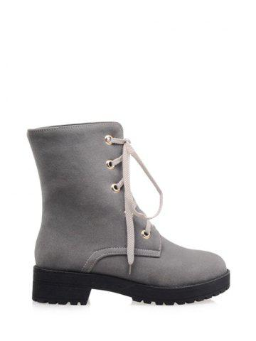 Discount Platform Dark Color Tie Up Ankle Boots