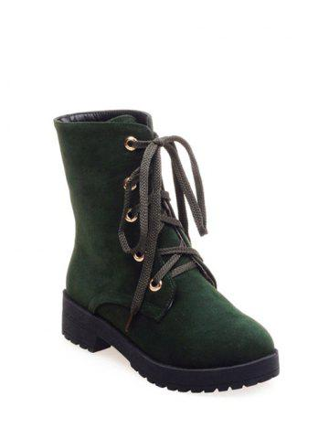 Discount Platform Dark Color Tie Up Ankle Boots ARMY GREEN 37