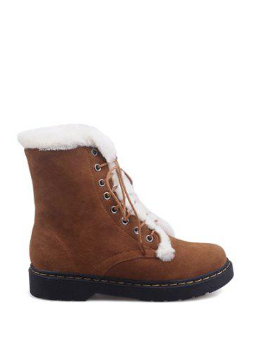 Discount Tie Up Faux Fur Stitching Short Boots