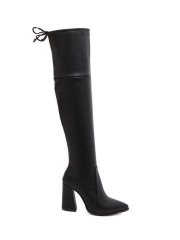 Fancy Pointed Toe Tie Up Zipper Thigh Boots