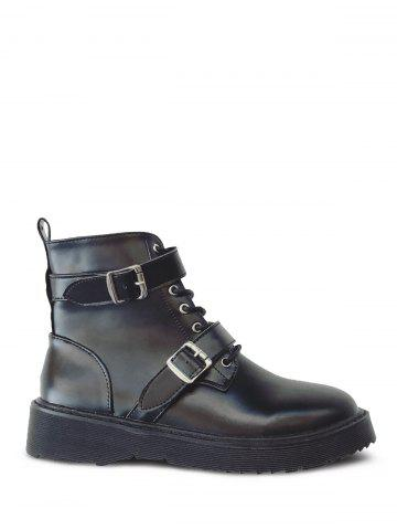 Sale Tie Up Double Buckle Platform Ankle Boots