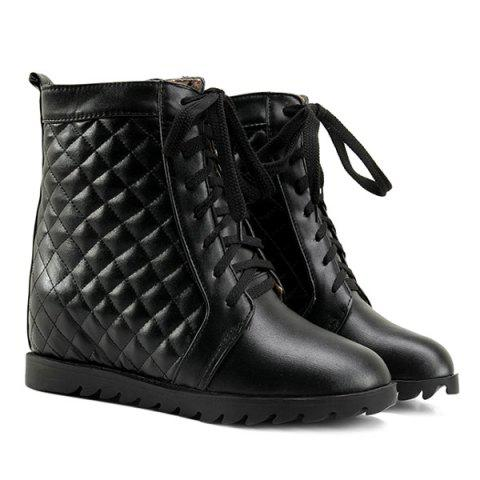 Affordable Quilted Argyle Pattern Tie Up Ankle Boots BLACK 39