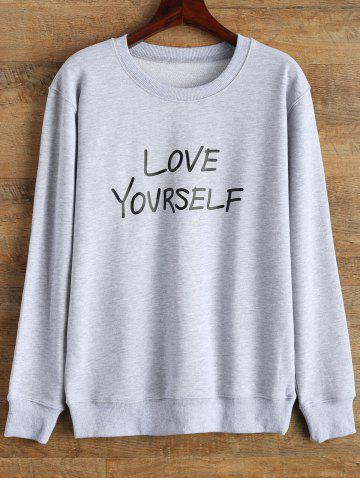 New Love Yourself Graphic Sweatshirt GRAY L