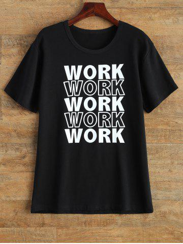 Buy Streetwear Jewel Neck Work Graphic T Shirt BLACK L